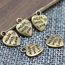 "Lot 10 Pendentifs Coeur Bronze "" made with love "" 12mm x 10mm Breloques Charms"