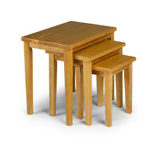 Cleo Nest Of Tables Solid Rubberwood With a Light Oak Stain - Free Delivery