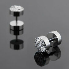 2Pcs Black Silver Men's Barbell Punk Stainless Steel Crystal Ear Studs Earrings