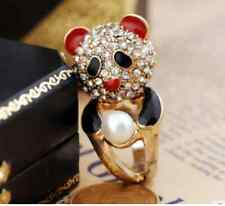 R15 BETSEY JOHNSON Exquisite Crystal Little Panda with Pearl Ring US