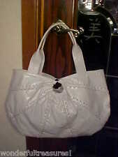 HG White Leather Satchel Hobo Purse Bag LACE UP ACCENT ROBERTA GANDOLFI - ITALYI