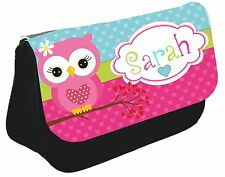 Personalised girls Owl Pencil Case Name make up bag school Birthday teacher gift