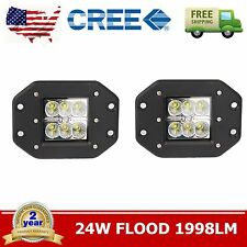 2pcs 5'' 24W Square Flood CREE LED Cube Pod Work Light Flush Mount Offroad Truck