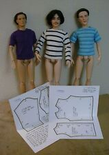 "T-Shirt Pattern For 17"" Tonner Matt, Rufus, Simon, Phin, Russell & Andy Dolls"