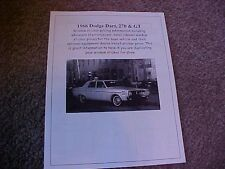 1966 Dodge Dart 270/GT factory cost/dealer sticker prices for car & options $$$