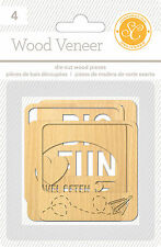 Studio Calico WANDERLUST (4) DIE-CUT WOOD VENEER PIECES scrapbooking