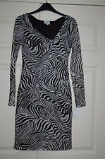 New 8 Reiss Zebra Print Mesh Lined Monochrome Wiggle dress Long Sleeve Xmas Gift