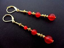 A PAIR RED JADE BEAD GOLD TONE EXTRA LONG DANGLY LEVERBACK EARRINGS. NEW.