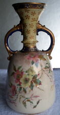 ANTIQUE ROYAL DOULTON BURSLEM  PORCELAIN FLORAL TWO HANDLED VASE LATE 1800'S