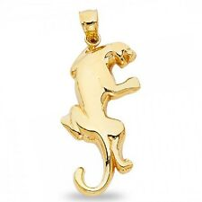 Puma Pendant Solid 14k Yellow Gold Big Cat Cougar Charm Polished Animal Design