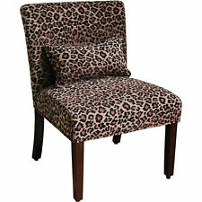 Accent Chair For Living Room Leopard Print Armless Modern Slipper With Pillow