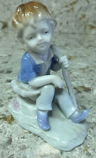 Little Shephard Boy Figurine Sitting with Horn by Side and Staff – Porcelain