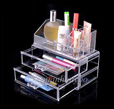 Cosmetic Jewellery Rack Makeup Organizer Box Case Holder Clear 2 Storage Drawers