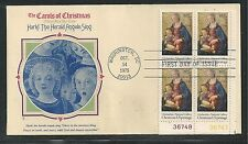 # 1579 CHRISTMAS, HARK THE HERALD ANGELS SING 1975 Fleetwood FDC (Plate Block)