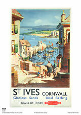 CORNWALL ST IVES HOLIDAY RETRO VINTAGE RAILWAY TRAVEL POSTER ADVERTISING