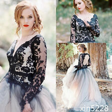 Victorian Gothic Wedding Dress Black White Keyhole Backless Bride Gown Handmade