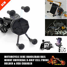 Universal 12V-24V Motorcycle Cell Phone & GPS Mount Holder X Clamp USB Charger