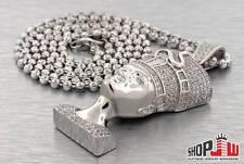 "Simulated Diamond Nefertiti Pendant 28"" CHAIN SET .925 Silver Iced Out Hip Hop"