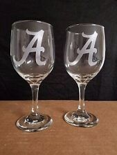 "SET OF 2 NICE  ETCHED  WINE GLASSES, ALABAMA CRIMSON TIDE "" A "" LOGOS"