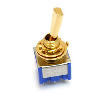 (1) Gold ON-OFF-ON 3-way DPDT Mini Toggle Switch for Guitar/Bass EP-0082-002