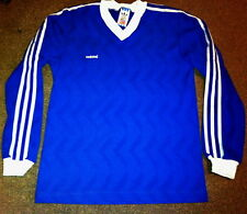 Vintage Retro 80's Adidas Originals Football Shirt Jersey  Blue Xs