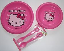 Girls Hello Kitty 3 Piece Mealtime Plate,Bowl, Cutlery Set