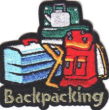 """BACKPACKING""- Iron On Embroidered Applique Patch- Sports, Hiker,Outdoors"