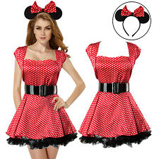 Women Sexy Adult Minnie Mouse Fancy Dress Costume dot Outfit Halloween Party