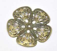 30 Bronze Tone Filigree Flower Wraps Connector Embellishments Findings 48mm