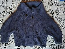 Anthropologie Free People chunky knit lavender purple cardigan sweater collar