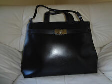 "Furla Gorgeous Black Leather Shoulder Large Purse Handbag Made in Italy 16"" L"