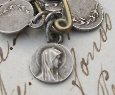 Vintage French Religious Medal Virgin Mary Pendant Beautiful Madonna Lilies