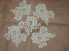 Set of 5 Vintage French Chantilly Lace Appliques  ivory