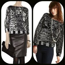 new $528 MARC jacobs MIDGE BLACK WHITE SEQUIN PAILLETS KNIT SWEATER TOP XS S