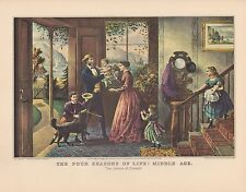 """1952 Vintage Currier & Ives """"THE FOUR SEASONS OF LIFE: MIDDLE AGE"""" COLOR Litho"""