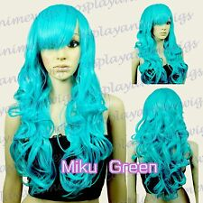70 cm Miku Green Heat Styleable Bang Sexy Curly Long Cosplay Wigs 70_MGG