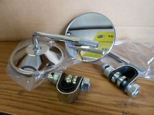 "NOS Vintage Chrome 7/8"" Bar Clip On Mirrors Japan Cafe Racer Bobber M325 4"""