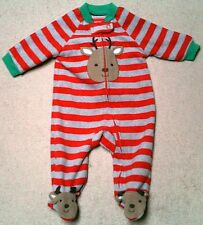 Red and Gray Striped Infant Sleeper w/Reindeer Applique Just One You 3 Mos