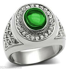 10x8 mm 316 Stainless Steel May Green Emerald Stone Dome Cut Men Ring Size 13
