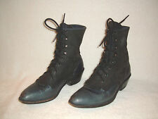 JUSTIN ROPER WOMEN'S WESTERN GRAY BLACK LEATHER KILTIE LACE UP BOOTS SIZE 7M