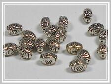 20 ovale Metallperlen antik silber Blümchen 9*6mm