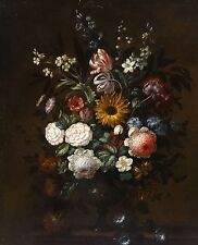 Large 17th 18th Century Dutch Old Master Flowers Still Life Antique Oil Painting