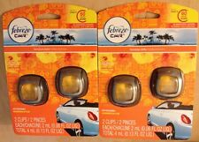 4 Febreze Car Vent Clips Air Freshener Eliminates Odors Hawaiian Aloha Parfum