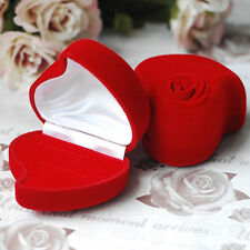 Charming Double Ring Box Jewelry Velvet Storage Case Red Heart Flower Shape