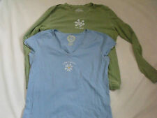 Woman's Size M Life is Good T-Shirt Lot-1 Green/1 Blue Long Sleeve