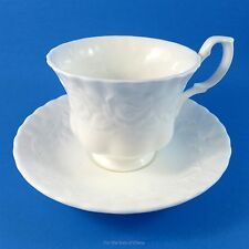 Royal Albert All White Old English Garden Tea Cup and Saucer Set