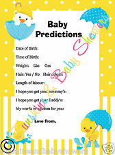 Baby Shower Game Predictions RUBBER DUCK DUCKY 20 Sheets Player BOY GIRL NEUTRAL