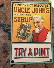 """Victorian Window Advertising Johns Golden Tree Syrup 6"""" X 9"""""""