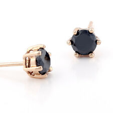 Mens Cool Punk Gold Plated Black Simulated Diamond Round Stud Earrings Earings