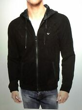 TRUE RELIGION PERFORATED SUEDE LEATHER MEN HOODIE JKT BLACK MAFB159IK NWT L $598